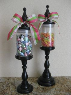 Set of 2 decorative apothecary glass candy jars, fill with anything, customize to the color of your choice via Etsy