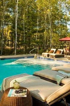 """hidden pond resort, kennebunkport, me. not sure if it's my style but looks pretty nice. private bungalows, fireplaces. called """"an adult upscale summer camp"""". could be nice!"""