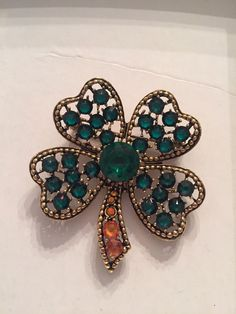 Vintage Estate Signed Weiss Shamrock  Brooch Pin #Weiss