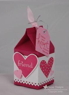 Milk Carton Valentines Gift Box, My Sweet Valentine, Valentine Crafts, Valentine Day Cards, Mini Milk, Milk Box, Diy Gift Box, Gift Boxes, Milk Carton Crafts