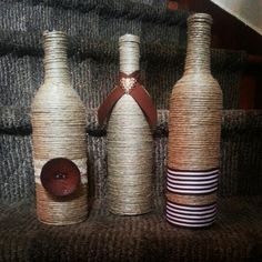 Twine wrapped wine bottles for mantle or floor decor