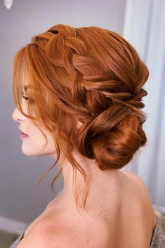 Auburn Braided Updos #formalhairstyles #hairstyles #updohairstyles ❤ Whether you are going to celebrate your marriage or you are preparing for your prom night, we collected for you the most flattering formal hairstyles to make all your occasions wonderful. Go on reading and check them out! #lovehairstyles #hair #hairstyles #haircuts #braidedformalhair