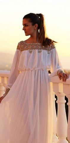 Goddess Beads Embellished Chiffon Maxi Dress