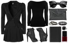 I adore these boots and the jacket. Alternative Outfits, Alternative Fashion, Dark Fashion, Gothic Fashion, Corporate Goth, Goth Look, Professional Outfits, Business Professional, Work Attire