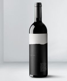 Torn paper, black and white, simplistic wine label