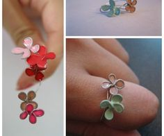 How to make little enamel-looking flowers using nail polish and wire! So neat and I bet it works just as well with other shapes!