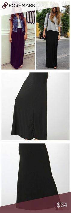 """❣️RESTOCK! Wardrobe Basic Maxi Skirt❣️ ❣️RESTOCK! Wardrobe Basic Maxi Skirt! Great for ALL seasons and all occasions! Has 2""""W Band at top; super silky fabric. 96% Poly, 4% Spandex, machine wash, dry Low.  You'll throw this on time and time again. Price firm unless bundled. BUNDLES ARE 15% OFF❣️ Bellino Clothing Skirts Maxi"""