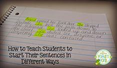 Who's Who and Who's New: Teaching Kids to Start their Sentences Differently...