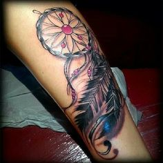 Dreamcatcher with pink beads tattoo <3 Beautiful Tattoo