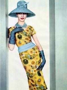 Model wearing Pierre Balmain dress, 1960