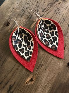 Genuine Leather Earrings, Red and Leopard Earrings, Leopard Print Jewelry, Valentine& Day Gift, Ani animalprintearrings Diy Leather Earrings, Diy Earrings, Leather Jewelry, Leather Craft, Valentines Jewelry, Valentine Day Gifts, Jewelry Crafts, Handmade Jewelry, Animal Print Earrings