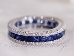 Fantastic Princess Cut  Natural Ceylon Sapphires Ring  Diamonds Engagement Ring 14K White Gold Wedding Ring/ Promise Ring/ Anniversary Ring