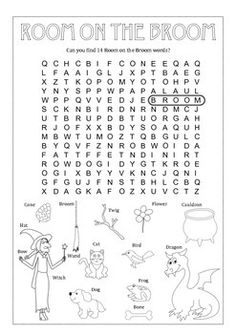 Fun Vocabulary Room on the Broom Word Searh Worksheet