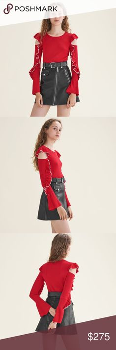 Maje 2017FW Madeline Off Shoulder Jumper Red Fine knit jumper with rounded neckline, long sleeves with flared hem and bare shoulders. Frills with contrasting trim on the sleeves. Straight cut. Main fabric : 62% Viscose , 38% Polyamide. Maje Sweaters Crew & Scoop Necks