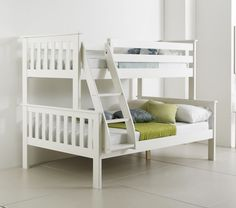 Happy Beds Atlantis Wooden Triple Sleeper Bunk Bed 3ft / 4ft With 2x Mattress