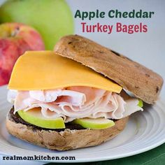 Apple Cheddar Turkey Bagel - MAKE THESE NOW! We had them for dinner ...