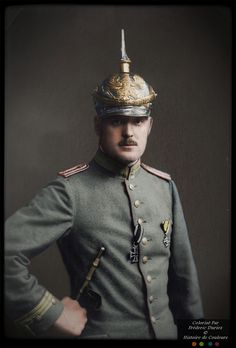 WWI. Unidentified German Officer. Color by Fréderic Duriez. Private collection Marc Cantal.