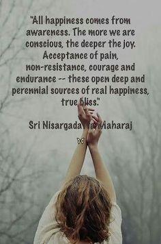 All happiness comes from awareness  ~ Nisargadatta Maharaj