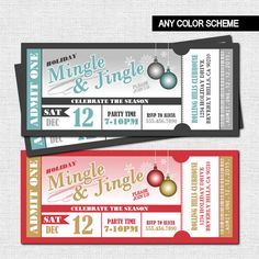 HOLIDAY PARTY TICKET Invitations - Christmas Mingle & Jingle (printable file) by nowanorris on Etsy