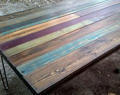 multicolor salvage wooden plank table