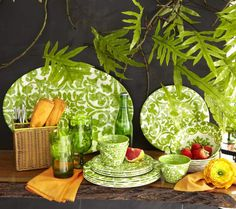 Our bold Trellis Dinnerware is made of shatterproof melamine