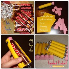 Back to School pencils--Rolo candy (Or other round tube of candy), Hershey's kisses (for the point), yellow paper, pink paper, foil, tape or glue, and black marker.