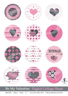 Digital clipart Lovely Pink Valentine Clip Art Digital Scrapbooking Printable Valentine Collage Sheet 2 Pattern Circles Bottle Cap Art  These are