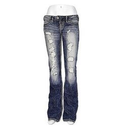 84f3b119 Silver Jeans Super Low Rise Tuesday Destroyed Ripped Slim Bootcut 26 28 29  NWD #SilverJeans