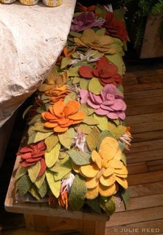 Felt Flower Bench - kind of cute for a fairy garden or tropical theme.