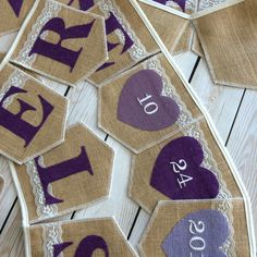 Custom burlap banners. Many colors, pennant shapes and lace. Lovely 💜