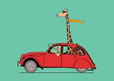 Giraffe inside french 2CV