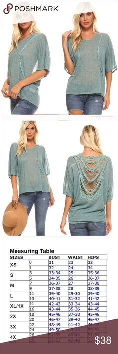 Light Turquoise Slag Knit Blouse This is slightly sheer in light turquoise slag knit The back is so unusual and really sets this apart  from other blouses. Get ready for spring with this adorable top. NWT.  MSRP $48. Free shipping! ****PRICE DROP!**** Threadzwear Tops Blouses