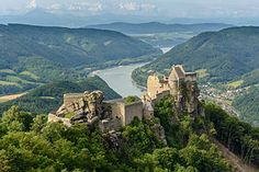 """""""castle ruins of Aggstein"""") is a ruined castle on the right bank of the Danube in Wachau, Austria. The castle dates back to the century. Aggstein Castle is situated at an altitude of 480 m. River Cruises In Europe, European River Cruises, Cruise Europe, Travel Europe, Places To Travel, Places To See, Wachau Valley, Danube River Cruise, Austria Travel"""