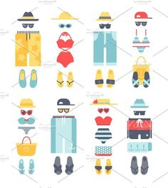 Vector summer icons Graphics Beachwear different flat vector summer icons, beachwear cloth fashion looks. Beach summer clothes il by Vectorstockerland