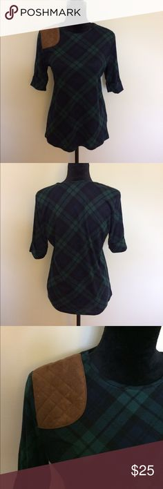 Lauren Ralph Lauren top Blu, green and black Lauren Ralph Lauren top with faux suede brown patch detail on one shoulder. Body: 100% cotton, Faux suede patch: 100% polyester. Bust: 40.5 inches, Sleeves: 11.5 inches, Length: 26.25 inches. Lauren Ralph Lauren Tops