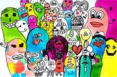 prachtige cartoonmonsters in kleur! gemaakt door een meisje van 9 jaar