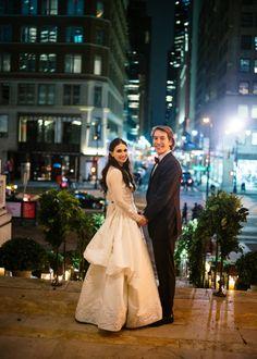 A celestial-theme wedding celebration at the New York Public Library.