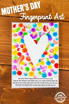 Mom will adore this simple fingerprint Mother's Day art. This homemade kid gift is something she will treasure for years to come. And the best part is that Mother's Day diy mother's day gifts, finger paint, finger paint activities, fingerprint art, Homemade Kids Gifts, Diy Gifts For Mom, Mothers Day Crafts For Kids, Diy Mothers Day Gifts, Fathers Day Crafts, Diy For Kids, Grandparents Day Crafts, Easy Mothers Day Crafts For Toddlers, Mothers Day Cards Craft