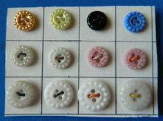 lot of 12 Antique HOBNAIL china Buttons SCARCE colors Assorted colors