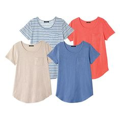 It's tee time. Stock up on freshly hued wardrobe basics.FEATURES• Rounded neckline• Short sleeves• 4-pack of tees • Small breast pocket MATERIALS • Cotton • PolyesterCAREMachine wash, dry flat.Imported Avon Fashion, Ladies Fashion, Casual Outfits, Fashion Outfits, Wardrobe Basics, Striped Tee, Cute Shirts, Cotton Tee, Latest Fashion Trends