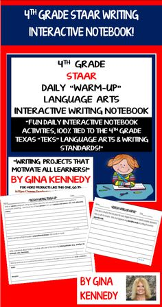 100% STAAR ALIGNED 4TH GRADE DAILY LANGUAGE ARTS REVIEW! REVIEW ALL THE TEKS WITH CREATIVITY AND RIGOR! The 4th Grade STAAR Daily Review Interactive Notebook is a must have for any language arts 4th grade classroom. For every day of the week I have prepared a template with activities that will encourage 4th graders to use all of their language arts skills. The templates are generic topics so that the student's responses can be relevant at all times.$ Interactive Writing Notebook, Interactive Notebooks, Reading Skills, Writing Skills, 4th Grade Classroom, Writer Workshop, Classroom Resources, Language Arts, School Stuff