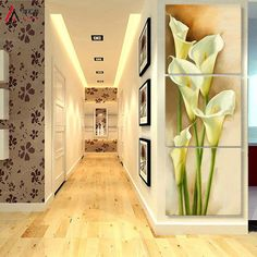 3 pieces stereoscopic art Dandelion Flower Corridor canvas oil painting living room pictures on the wall Modular pictures Print Easy Flower Painting, Lily Painting, Painting Canvas, Living Room Photos, Living Room Paint, Multiple Canvas Paintings, 3 Piece Art, Bedroom Murals, Kitchen Wall Art