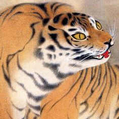 円山応挙「虎嘯生風図」detail. Tiger. Maruyama Okyo. Japanese hanging scroll. Eighteenth century.