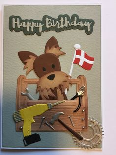 Masculine Birthday Cards, Masculine Cards, Dog Cards, Marianne Design, I Card, Projects To Try, Card Making, Scrapbook, Puppies