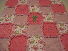 Darling Owl Baby Girl Rag Quilt Blanket