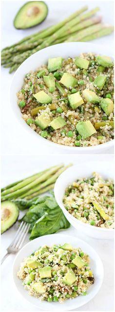 Spring Quinoa Salad Recipe on http://twopeasandtheirpod.com Quinoa salad with asparagus, peas, avocado, and a simple lemon basil dressing. We LOVE this healthy salad!