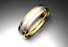 Alianza de oro blanco y amarillo de 18K modelo Dos colores satinada en blanco 4,5 mm de calibre #alianzas, #anillosdeboda, #boda, #novias www.cnavarro.com