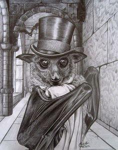 A dapper Steampunk bat Art And Illustration, Illustrations, Cute Bat, Drawn Art, I Am Batman, Creatures Of The Night, Arte Horror, Fantasy Art, Creepy