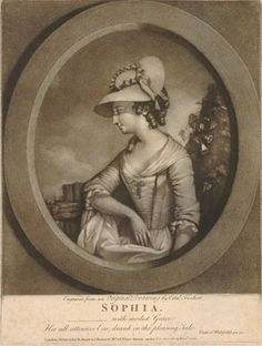 The young woman shown half-length standing beside a fence, resting her elbow against it, head in profile  to left and looking ahead thoughtfully, wearing a simple gown and straw hat with ribbons; bush behind to right; in an oval; from a series of ten plates illustrating heads from Goldsmith's 'Vicar of Wakefield'; state with quotation and character's name added.  1776  Mezzotint