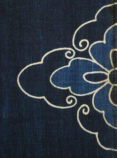 Indigo Dyed Cotton Boro: Tsutsugaki Detail. Late 19th, early 20th century.